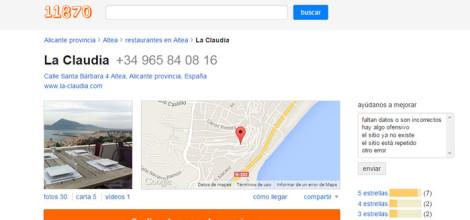 Opiniones Restaurante La Claudia | Nos Recomiendan 11870.com